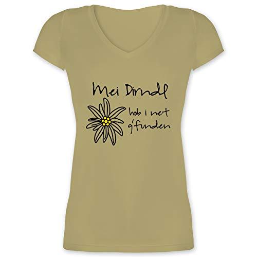 Oktoberfest & Wiesn Damen - Dirndl net g'funden - Shirt statt Dirndl - M - Olivgrün - Dirndl mit v Ausschnitt - XO1525 - Damen T-Shirt mit V-Ausschnitt
