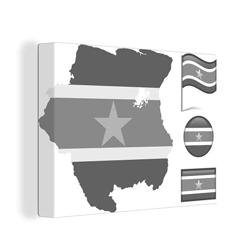 Leinwandbild - Eine Illustration von Suriname zeigt drei Flaggen & eine Karte - schwarz & weiß - 40x30 cm