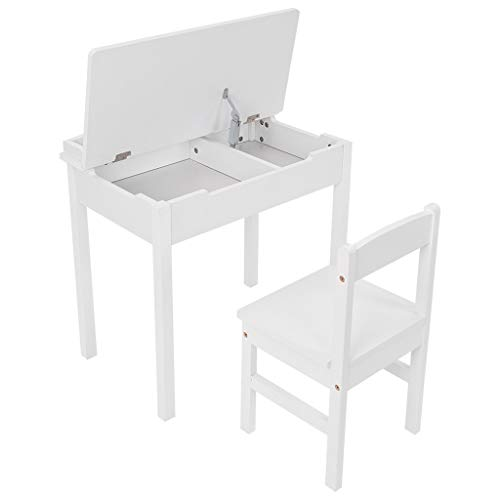 VEFSU US Shop Kids Study Table and Chair Set, Activity Art Desk with Clamshell Storage Box, Modern Simplicity Children
