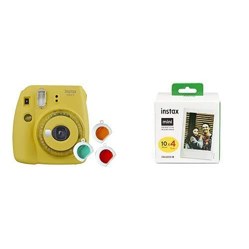Fujifilm Instax Mini 9 - Cámara instantanea, Amarillo + Pack de 40 películas