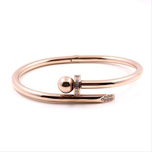Pulseras de acero inoxidable de color dorado de cristal de la marca de lujo con tornillos elegantes pulsera para mujeres niñas decoración de joyería accesorio regalo brazalete de oro rosa