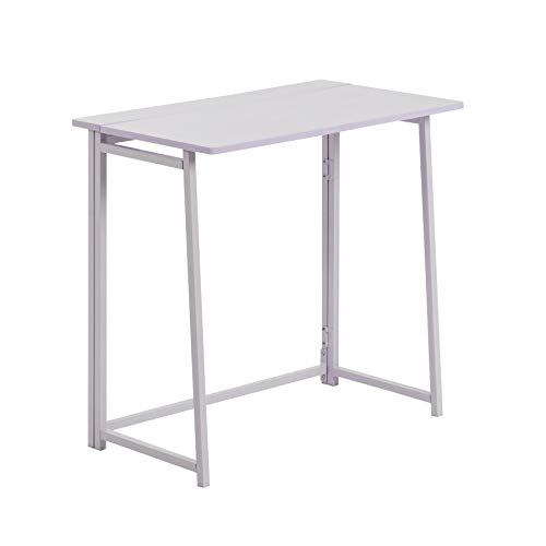 Harbour Housewares Mesa de Escritorio Plegable - Ideal para el Ordenador - Madera - Estructura y Tablero en Blanco