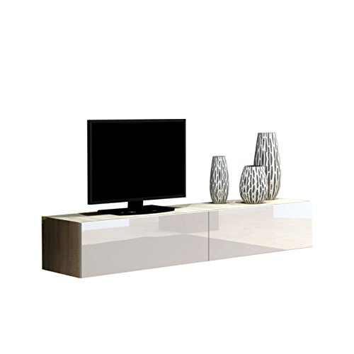 Mirjan24 TV Schrank Vigo, Fernsehschrank, TV Lowboard mit Grifflose Öffnen, Hängeschrank Hochglanz Matt Wohnwand (Länge: 180 cm, Eiche Sonoma/Weiß Hochglanz)