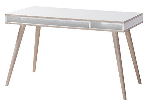 Wimex B01309 Schreibtisch, Holz, alpinweiß / absätze eiche sägerau nachbildung, 60 x 120 x 75 cm