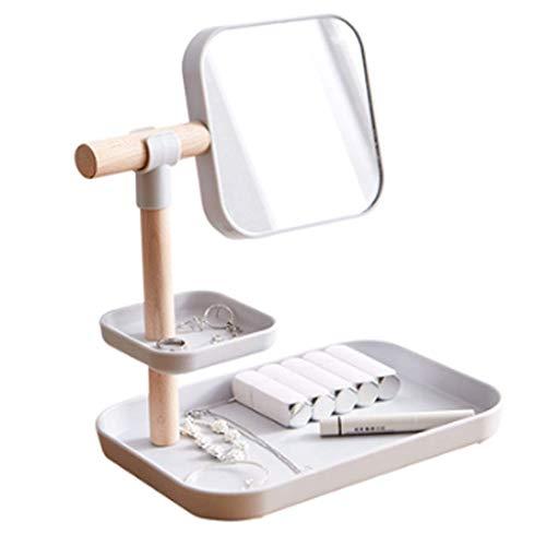 Household Necessities/cosmetica opbergdoos geschenk meisje eenvoudige spiegel HD 360 ° afwerking huidverzorging lippenstift borstel make-uptafel houder 27X19X30CM grijs.