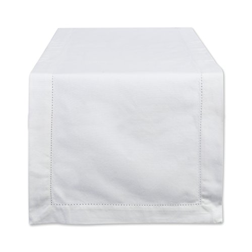 DII CAMZ37116 100% Cotton, Machine Washable, Everyday Hemstitch Kitchen Table Runner For Dinner Parties, Events, Decor 14x72 - Off White
