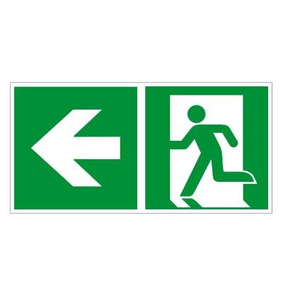 Rettungsweg links - Fluchtweg - Notausgang - Rettungsschild - Rettungszeichen ISO 7010 Kunststoff 300 x 150 mm