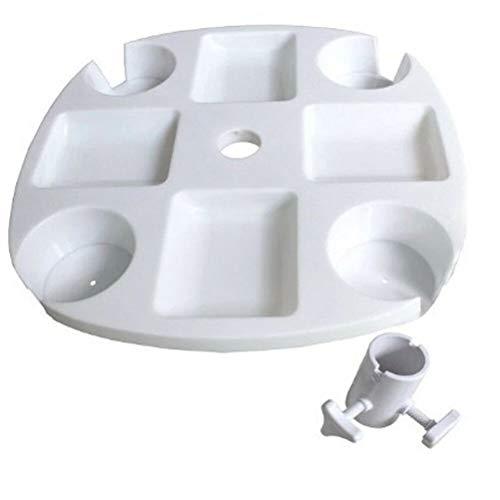 WWJJLL Bandeja de Mesa de Paraguas de Playa, Bandeja de plástico Redonda de 17'con 4 Tazas de Taza y 4 Tazas de refrigerio para jardín Piscina Patio Muebles de Playa