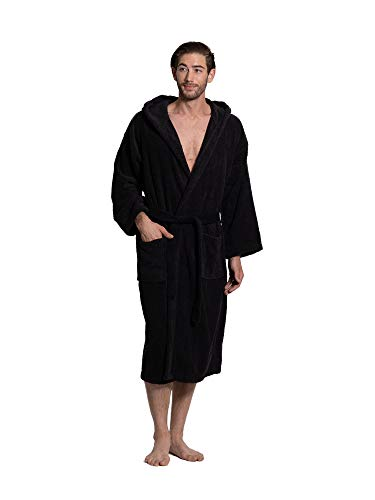 Turkuoise Men's Turkish Terry Cloth Robe, Thick Hooded Bathrobe Black