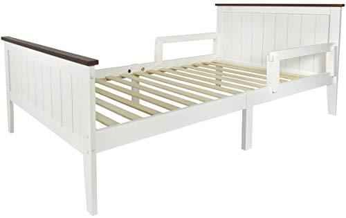 Leomark Łóżko sosnowe ze stelażem - Paris Walnut - pojedyncze łóżko drewniane dla dzieci i dorosłych z barierką ochronną, powierzchnia spania 200/90 cm