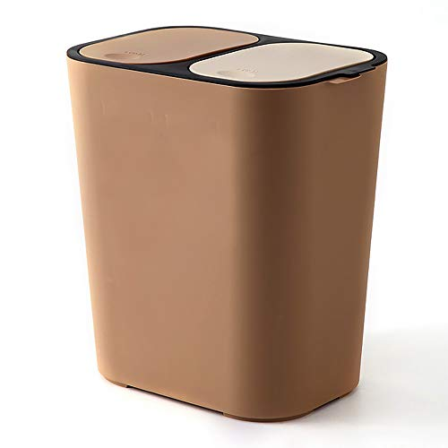 Liang's Treasures Cubo de basura de reciclaje, 2 x 23 L, doble compartimento para separación de residuos, papelera de plástico a prueba de huellas dactilares(marrón)