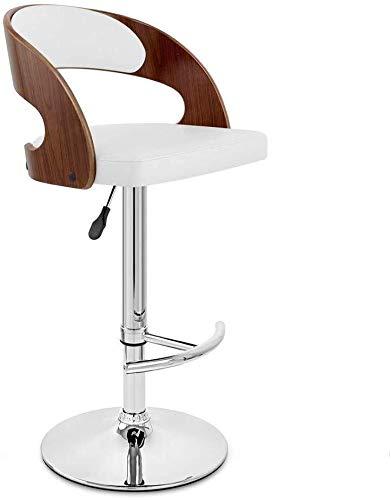 WWW-W-DENG barkruk, draaibare stoel, tailleband, met barstoel van PU-leer, hoge rugleuning, kruk met witte rugleuning, barkruk