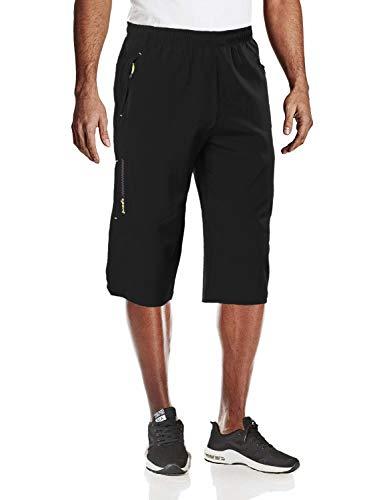 MAGCOMSEN Running Shorts Men Zipper Pockets Capri Pants for Men Hiking Shorts Quick Dry Shorts Mens Gym Shorts Sweatpants for Men 3/4 Pants Men Black