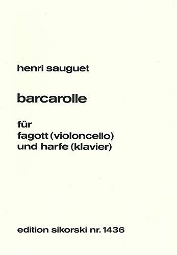 Henri Sauguet-Barcarolle-Bassoon [Violoncello] and Harp [Piano]-BOOK