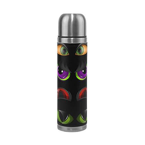 Ahomy Evil Eye Emoticons Edelstahl-Thermoskanne Isolierflasche Vakuum Wasserflasche Reise Kaffee Becher 500 ml