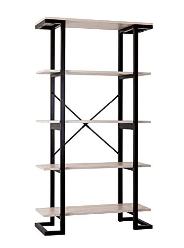 LELELINKY 5 Tier Open Bookshelf, Tall Rustic White Bookshelveswith Metal,5 ShelfBookcase Free Standing Decorative, Modern, Industrial Retro Wood Storage Organizer for Living Room, Home, Office- 60''