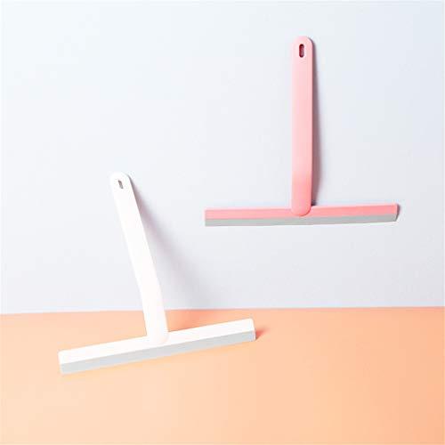 Tee Vee - Limpiacristales de silicona para ventanas con agujero para colgar, herramienta de limpieza de espejo para lavar la puerta de la ducha, baño, cocina, coche (rosa + blanco)