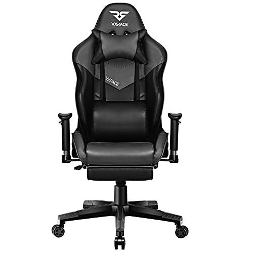 VXRACE Gaming Stuhl Bürostuhl mit Fußstütze Hochwertiger Schreibtischstuhl Ergonomischer Computerstuhl Drehbarer PC Stuhl Höhenverstellbarer Lehnstuhl Grau