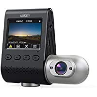 Aukey DRS2 3-in-1 1080p 170-Degree Wide-Angle Dual Dash Cameras with IR Night Vision and Dual-Port Car Charger