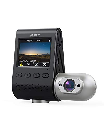 AUKEY Doble Dash CAM 3 in 1 1080P FHD Visión Nocturna por Infrarrojos Car Dash CAM 170 Grados Ancho Ángulo Cámara de Coche con Supercondensador, WDR, G-Sensor, y Cargador de Coche con Doble Puerto