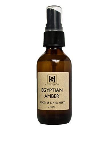 Egyptian Amber Room & Linen Mist | 2 oz Amber Glass Spray Bottle | Happy Scents