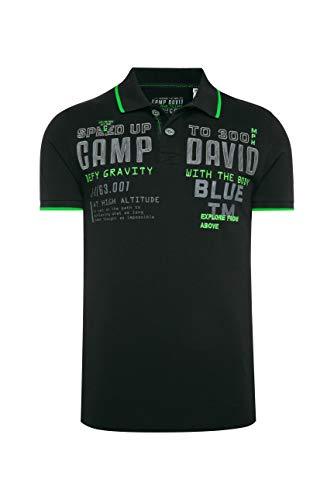 Camp David Herren Poloshirt aus Pikee mit Label-Applikationen