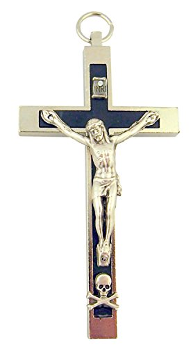 Religious Art Silver Tone Black Enamel Pectoral Crucifix with Skull Bones 3 1/2 Inch