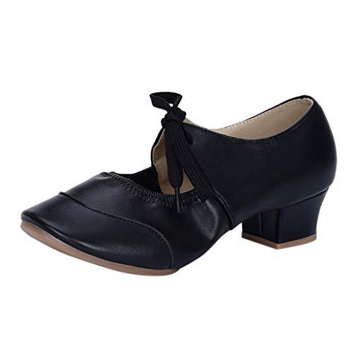 Damen Sandalen Tanzschuhe Sandalette Mary Jane Halbschuhe Pumps High Hesls Closed Toe Schnürhalbschuhe Sommer Sandals Freizeitschuhe(2-Schwarz/Black,36) 1761