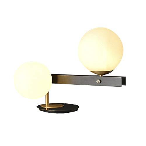 FYMDHB886 tafellamp, modern, volledig van koper, 2 lampenkappen van glazen bol en koperbasis, cadeau-decoratie voor woonkamer