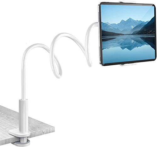 Gooseneck Tablet Mount Holder for Bed, Compatible with iPad Pro Air Mini iPhone/Samsung Galaxy Tabs/Kindle Fire/E-Reader/Switch and More, Flexible Arm Clip Tablet Mount, 30in Overall Length (White)
