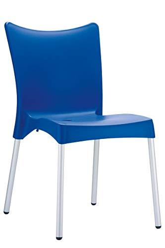 CLP Silla Apilable de Jardín Juliette I Silla de Exterior Apilable I Silla Terraza de Plástico I Silla de Jardín Exterior I Color: Azul