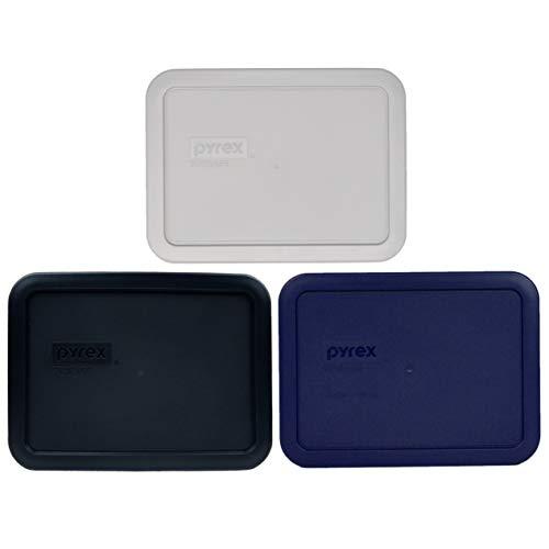 Pyrex 7210-PC 3 cup (1) Jet Gray & (1) Black & (1) Blue Rectangle Plastic Food Storage Replacement Lids