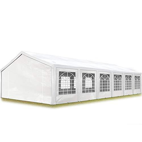 TOOLPORT Tendone per Feste Gazebo 6x12 m Bianco PE 180g/m² Impermeabile Protezione UV Tenda Giardino Sagre Eventi Mercati Esterno