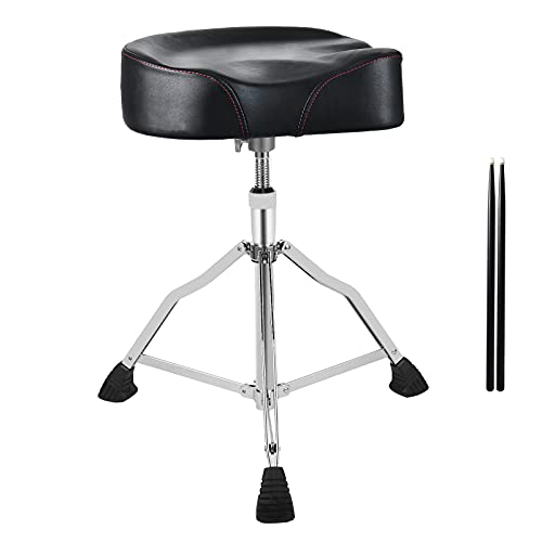 CHACHAZO Drum Throne Height Adjustable Drum Stool, Drum Throne Heavy Duty Ergonomics Motorcycle Style Drummer Stool for Adults with PU Leather Memory Foam Drum Thrones&5A Sticks