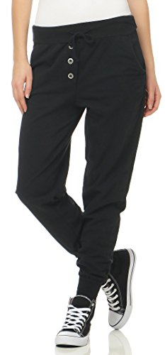 Malito Damen Jogginghose im Classic Look | Sporthose in Unifarben | Baggy zum Tanzen | Sweatpants - Trainingshose 8021 (schwarz)