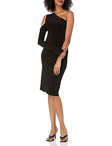 Norma Kamali Women's Shoulder ONE Sleeve Dress, Black, M