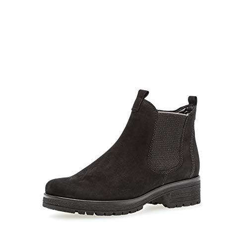Gabor Damen Stiefeletten, Frauen Chelsea Boots,Comfort-Mehrweite,Reißverschluss,Übergrößen,Optifit- Wechselfußbett,schwarz (Micro),41 EU / 7.5 UK