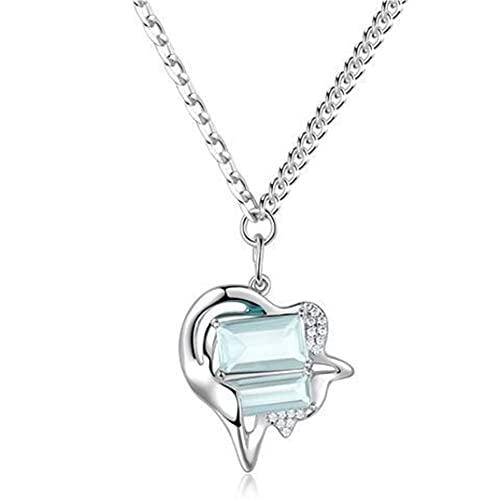 AnXiongStore Collar con Colgante de Amor de Cristal Verde Menta de la Serie Daydream de Primavera/Verano