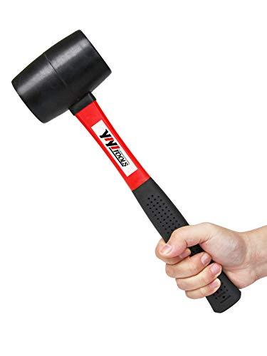 YIYITOOLS YY-2-005 Rubber Mallet Hammer With fiberglass Handle–16-oz, black