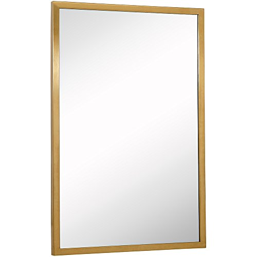 Commercial Grade Contemporary Industrial Strength Wall Mirror | Brushed Gold Metal Rectangle -
