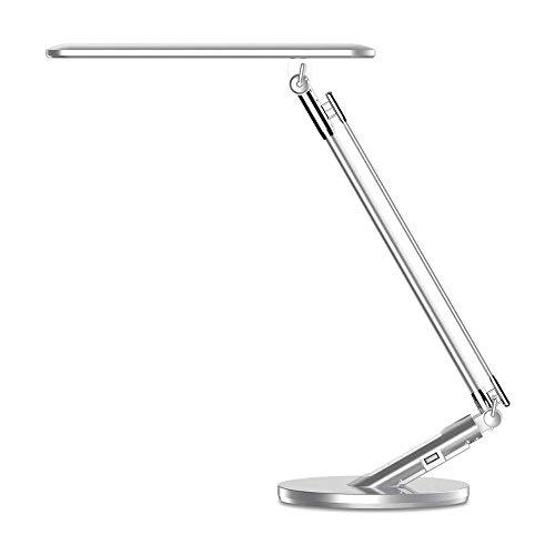 Lqp-taiden Lente de mesa LED de la lámpara, metal garra giratoria de escritorio del brazo de la lámpara, 14W, regulable Lámpara de la oficina con el puerto de carga USB, la tabla del tacto de la lámpa