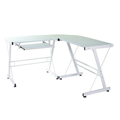 L en forma de vidrio templado escritorio de ordenador blanco simple elegante durable trabajo diario estudio mesa empalme gran espacio