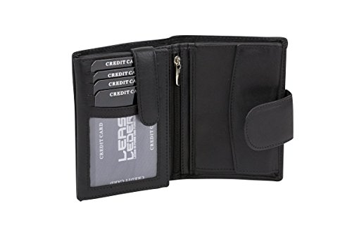 LEAS Damenbörse und Herrenbörse mit Außenriegel im Hochformat, Sicherheits Portemonnaie mit RFID Schutz Folie mit Geschenk Box Echt-Leder, schwarz