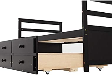 Daybed with Trundle and Two Storage Drawers, Extendable Wood Twin Size Trundle Daybed with Roll Out Bed Frame, Kid Teens Adul