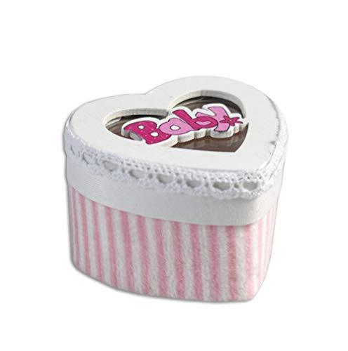 Vetrineinrete Scatoline portaconfetti a Forma di Cuore 36 Pezzi per Nascita Battesimo scatole per Confetti bomboniere segnaposto per Neonato Bimbo Bimba (Rosa)