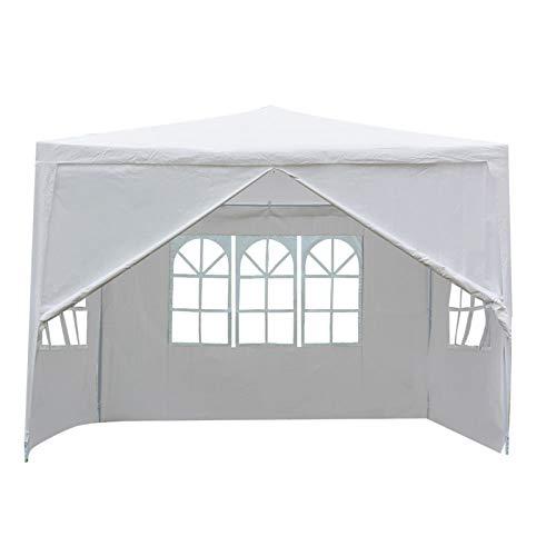 Wakects Tienda de campaña plegable al aire libre, tienda de refugio para fiesta con tienda lateral para evento mercadillo de pulgas, 3 x 3 x 3 m