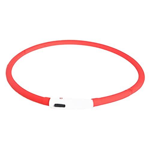 Prettyia LED Collar Collares Antipérdida Recargables USB Correa - Rojo