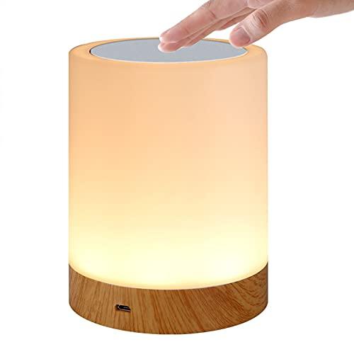 Creative Decorative Wood Grain Colorido LED Luz Noche Recargable Dormitorio USB Atmósfera de la Cama Lámpara de Mesa