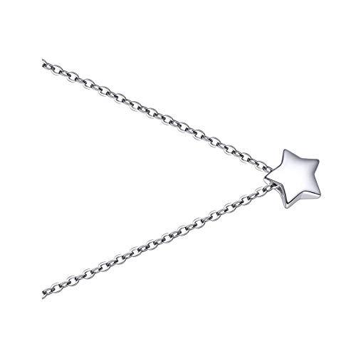 Collares de plata de la estrella para el día de San Valentín regalo collar de oro blanco