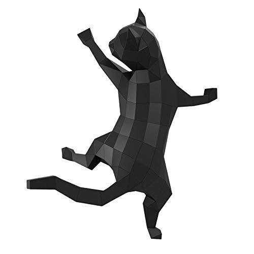 Fenteer Papel de Pared Grande Premium Arte 3D Animal Papercraft Plantilla Arte Montaje decoración de Pared Ornamento Origami DIY Material - Negro